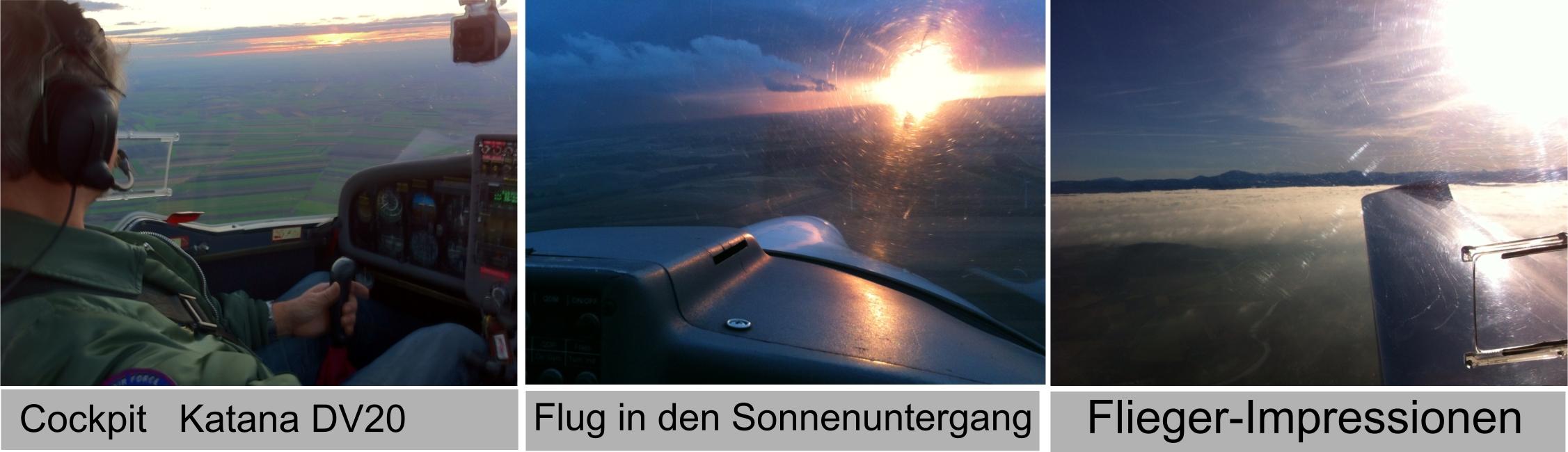 Ein Flug in den Sonnenuntergang
